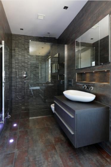 prozirna tuš kabina kao oprema za tamnu kupaonicu