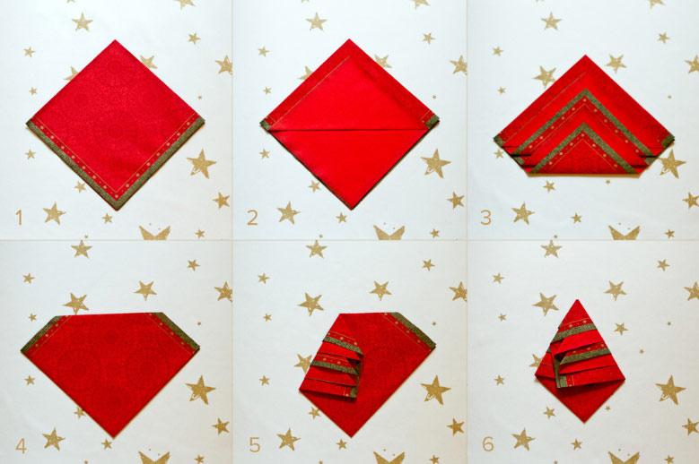 Božićno drvce od crvene salvete
