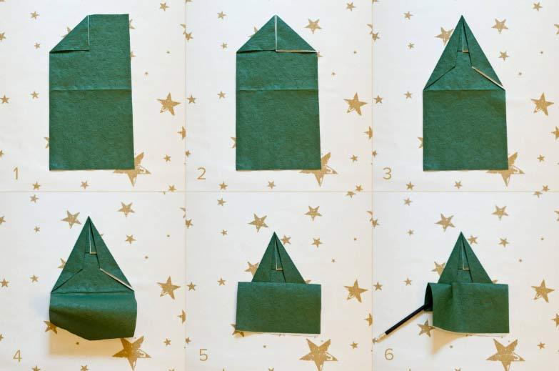 Prvi koraci kako izraditi Božićno drvce od salvete